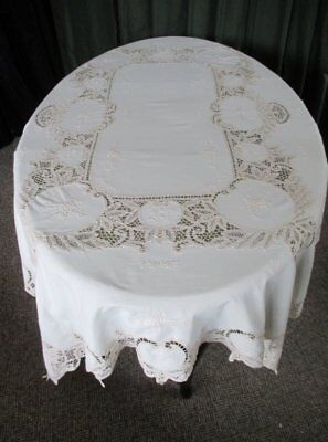 "LARGE TABLECLOTH -TAPE LACE HAND EMBROIDERY-50"" x 68"" - CREAM"