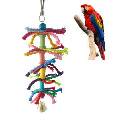 Toy Cage Rope Pet Chew Bell Cotton Funny Colorful Training Parrot Hanging Swing