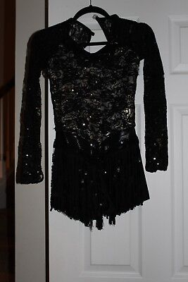 Weissman Lace jazz costume with tassel skirt, black and gold, small adult