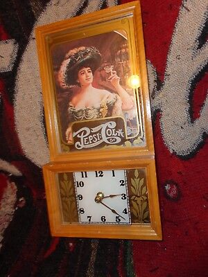 "Pepsi Clock With Wooden Frame & Mirrored Glass Front   13 1/4"" X 6 3/4"" X 2 1/8"""