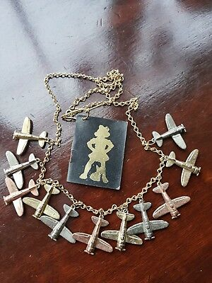 Vintage Collectable Cracker Jill Jack Metal Plane Charm Necklace USA With Tag