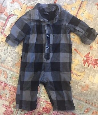 Baby Gap Blue Plaid Buffalo Check Flannel Romper One Piece Outfit 3-6 Months Boy