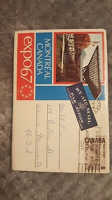"""Expo 67' Montreal Canada Fold-Out Postcard Booklet With 12 Pictures """"folder B"""""""