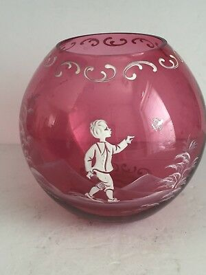 """Vintage CRANBERRY Mary Gregory Art Glass Round BALL Vase Boy with Bird 6.75"""""""