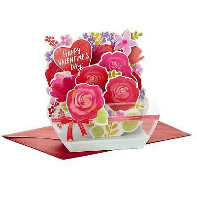3D Valentine's Day Card Pop Up Decoration Happy Sign Love Gift Flower in a Vase