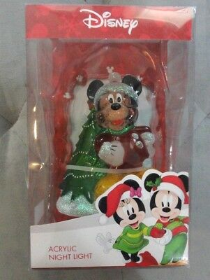 NEW - Disney Micky Mouse Acrylic Nightlight  with Christmas Tree