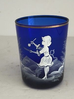 Vintage COBALT BLUE Mary Gregory Art Glass Tumbler GIRL PAINTING 6.75""
