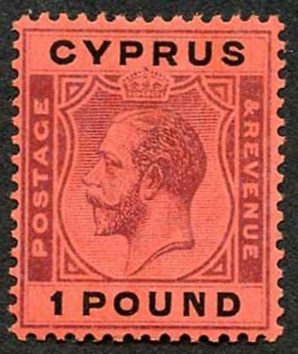 Cyprus SG102 KGV ONE POUND Purple and Black/Red Very Fine M/Mint