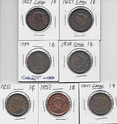 LOT of SEVEN U.S. Large Cent Coins - 1827 (2)  1838  1839  1851 (3)