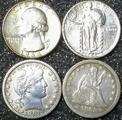 Seated Liberty Quarter, Barber Quarter, Liberty Standing, Washington Silver Lot!