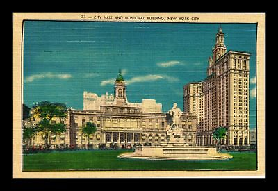 Dr Jim Stamps Us City Hall Municipal Building New York City Linen Postcard