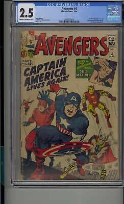 Avengers #4 Cgc 2.5 1St Silver Age Captain America Stan Lee Jack Kirby