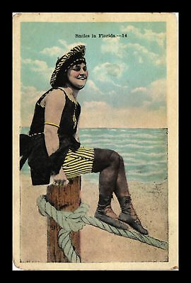 Dr Jim Stamps Us Woman At Florida Beach White Border Topical View Postcard