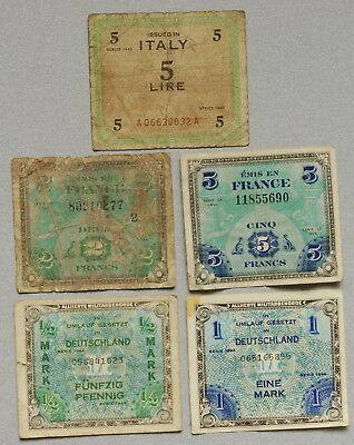 Allied Military Currency ITALY, FRANCE, GERMANY - Lot of 5 WWII Notes, No Res.!