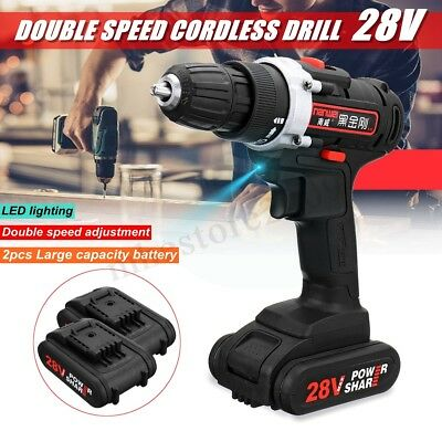28V 3/8'' LED Cordless Electric Impact Drill Driver Hammer w/ 2 Li-Ion Battery