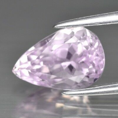 2.22ct 9.5x6.4mm Pear Natural Untreated Light Pink Kunzite