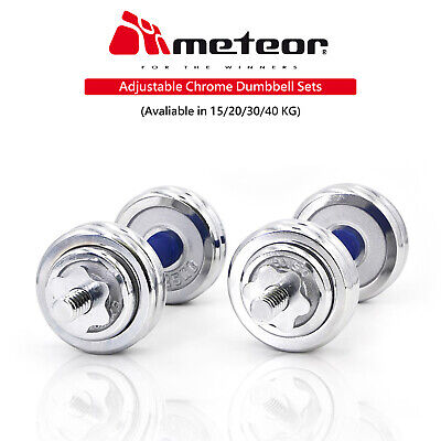METEOR Adjustable Chrome Dumbbell Barbell Weight Set Home Exercise Fitness Gym