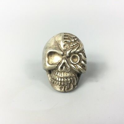 Chinese Rare Collectible Old Tibet Silver Handwork Skeleton soldiers No.10 Ring