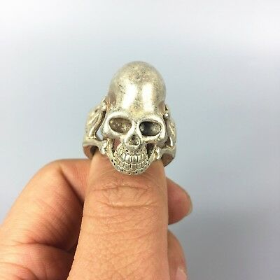 Rare Chinese Tibet Silver Handwork King Leoric Collectible No.11 amulet Ring