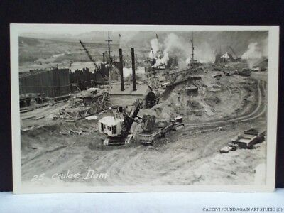 Grand Coulee Dam Construction Steam Shovel Real Photo Postcard Washington RPPC