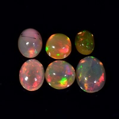 6pcs Lot 3.09ct t.w Round & Oval Natural Play-of-Color Crystal Opal, Ethiopia