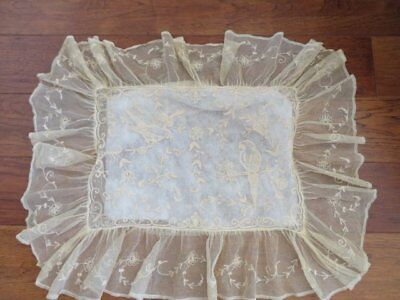 EXQUISITE Old Tambour FRENCH NET LACE PILLOW COVER SHAM Birds Flowers w/Ruffle