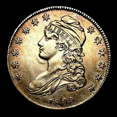 1835 ~**ABOUT UNC AU**~ Silver Capped Bust Half Dollar Antique US Old Coin! #211