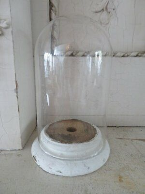 FABULOUS Vintage GLASS DISPLAY DOME CLOCHE with Chippy WOOD BASE for Display