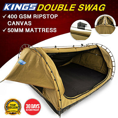 Canvas Camping Double Swag 1550mm Wide 50mm Mattress Kings Big Daddy