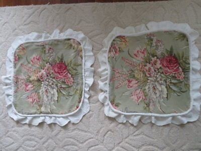 PAIR 2 PILLOW COVER SHAMS Vintage Drapery Fabric PINK ROSES FLOWERS w/Ruffle