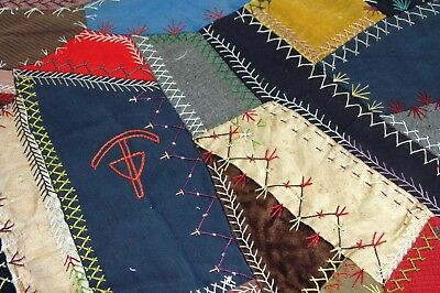 Antique Crazy Quilt Piece Embroidered Detailed Stitching Study EP209