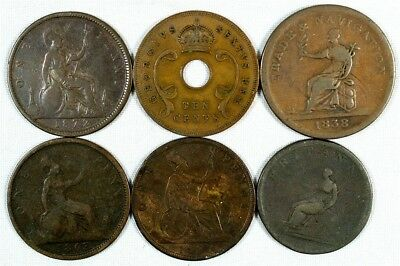 Lot of 6 Great Britain & British Colonial Copper Coins (1806-1952)