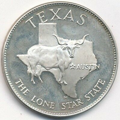 28Th State Texas Lone Star State Sterling Silver Medal .445 Ozt
