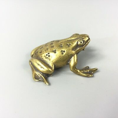 Antique Rare Collectible Old Brass Handwork jumping frog prince Chinese Statue