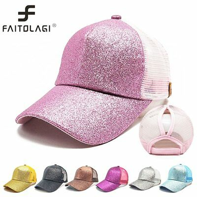 2019 Glitter Ponytail Baseball Caps Mesh Breathable Sun Hat Snapback Women Cap