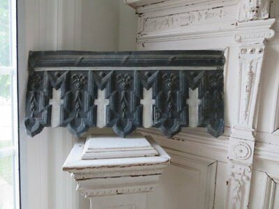 OMG OLD ARCHITECTURAL Zinc METAL Salvaged Church HEADER White Crosses Scalloped
