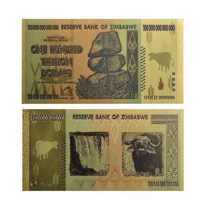 Zimbabwe 100 Trillion Dollar Banknote Gold Plated Bill Paper Money Collection SP