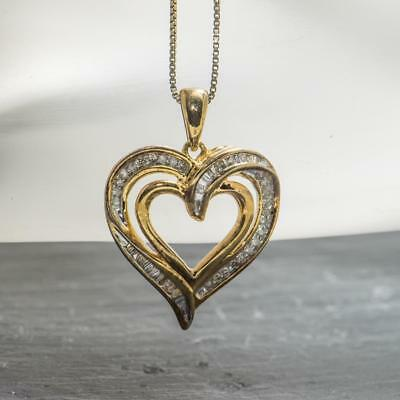 Stunning Genuine .52ctw H-SI Diamond 14k Yellow Gold/Sterling Heart Necklace