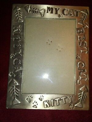 """Pewter Kitty Cat Picture Frame 6"""" x 4.5"""" MY CAT KITTY CAT BEST CAT KITTY"""