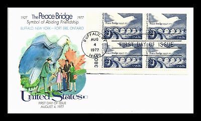 Dr Jim Stamps Us Peace Bridge Friendship With Canada Fdc Cover Plate Block