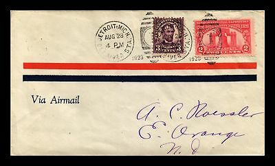 Dr Jim Stamps Us Detroit Michigan Air Mail Cover 1928 New York Fancy Cancel