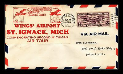 Dr Jim Stamps Us St Ignace Wings Airport Air Tour Air Mail Event Cover 1930