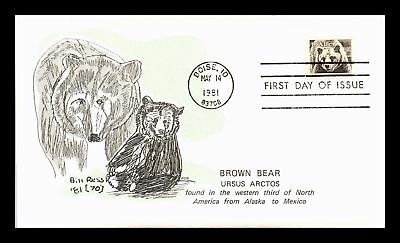 Dr Jim Stamps Us Brown Bear American Wildlife Bill Ressl First Day Cover Boise