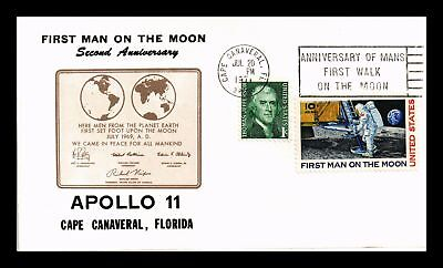 Dr Jim Stamps Us Apollo 11 Second Anniversary Man On Moon Air Mail Cover