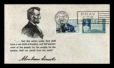 Dr Jim Stamps Us Abe Lincoln Gettysburg Pennsylvania Combo Cover 1963