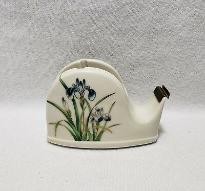 Vintage Takahashi Porcelain Tape Dispenser San Francisco Floral Design Japan*
