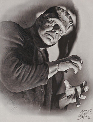 GHOST OF FRANKENSTEIN Original Pencil & Marker Drawing by Frederick Cooper