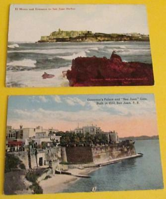 1918 San Juan Puerto Rico 2 Postcards Governor's Palace & El Morro Harbor