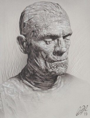 Karloff THE MUMMY Original Pencil & Marker Drawing by Frederick Cooper