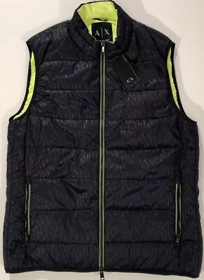 NWT A/X ARMANI EXCHANGE Men's NAVY/CHARTREUSE LINING PUFFER VEST JACKET Size XL